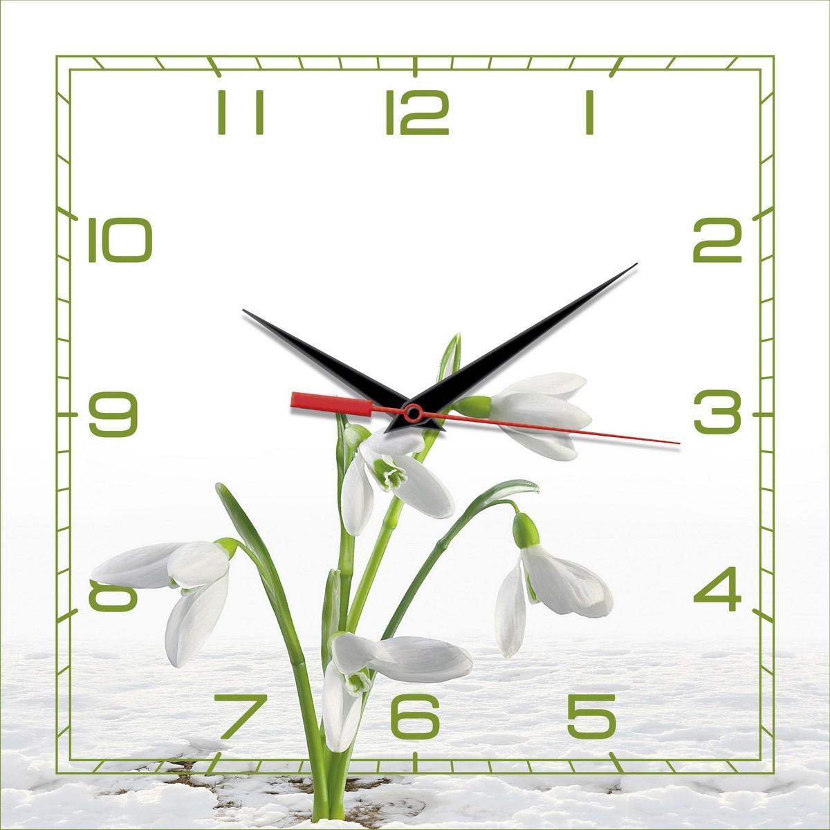 Квадратные настенные часы Весна. Подснежники