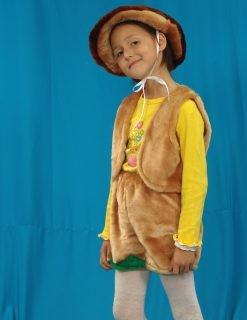 Карнавальный костюм Гриб (головной убор, жилет, шорты)