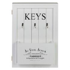 Белая ключница с дверцей и карманом
