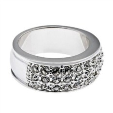Кольцо Дива, 3-х рядное, белое, кристаллы Swarovski