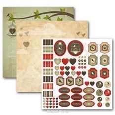 Набор бумаги для скрапбукинга На крыльях любви, 3 листа