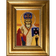 Икона с кристаллами Swarovski Николай Чудотворец