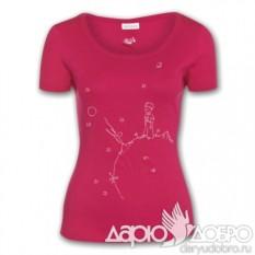 Женская футболка Маленький Принц на планете, розовая