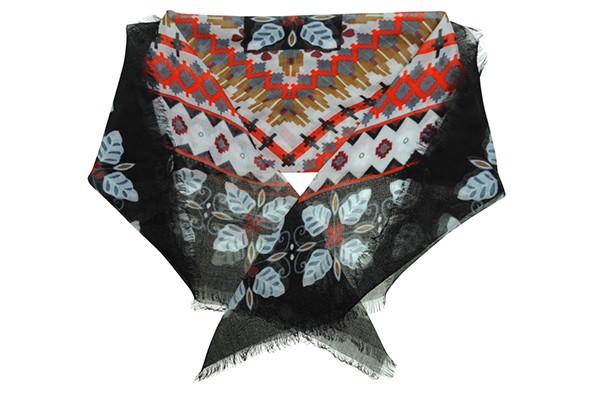 Черный женский платок Fabretti (вискоза)