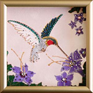 Картины из кристаллов Сваровски  «Колибри»