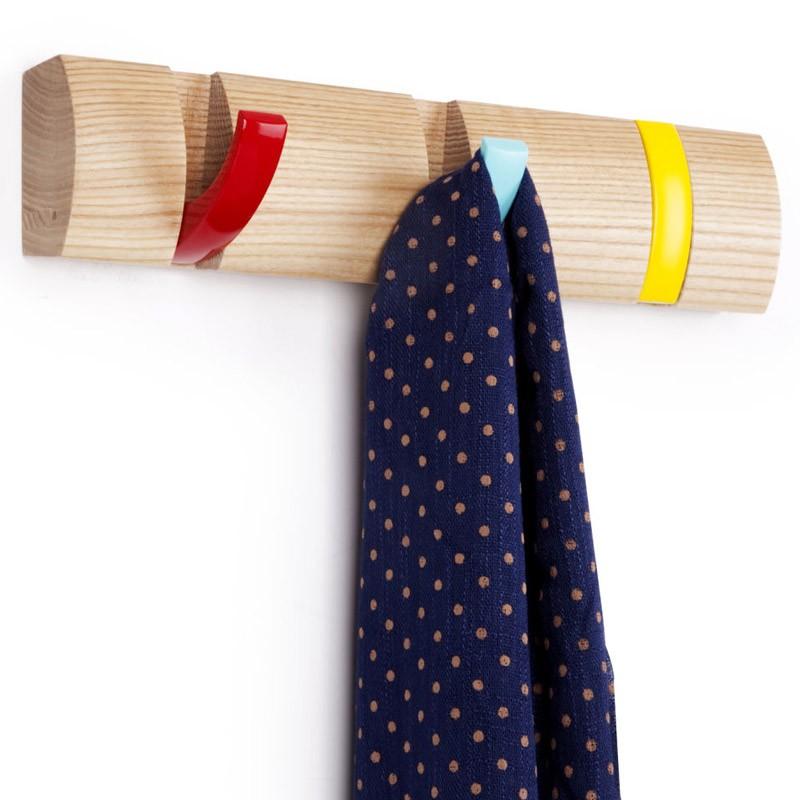 Вешалка настенная горизонтальная Flip 3 крючка, разноцветная