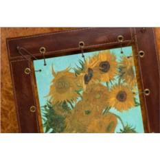 Картина из кожи Подсолнухи Ван Гог (прямоугольная)