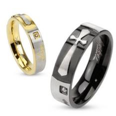 Мужское черное кольцо из стали Spikes Крест