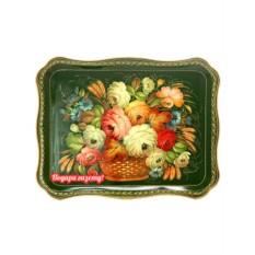 Поднос с художественной росписью Букет в корзине