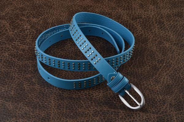 Кожаный ремень. Коллекция FAVORIT (голубой)
