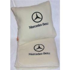 Бежевый плед с черной вышивкой Mercedes
