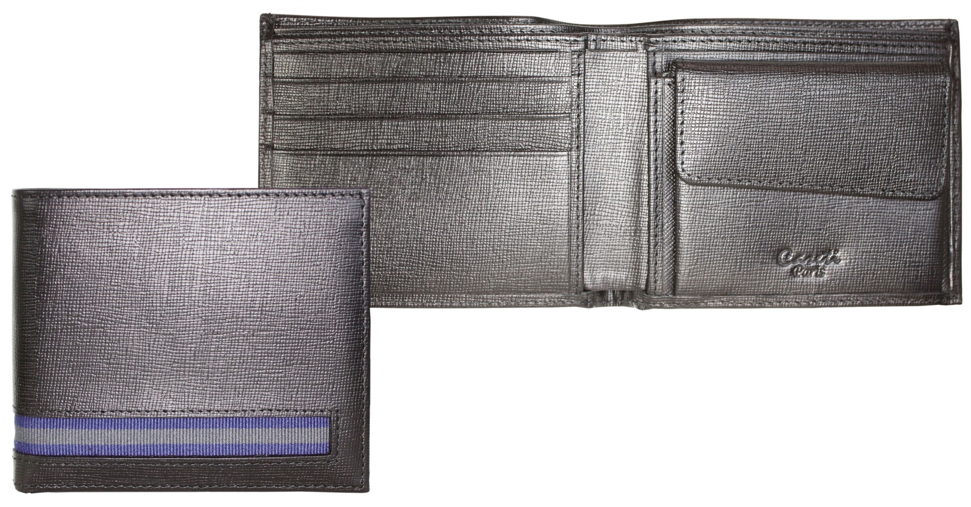 Черное кожаное портмоне Caseti с отделением для монет
