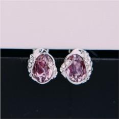 Серьги с кристаллами Сваровски цвета бордо «Бутон»