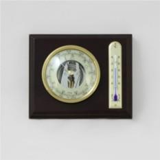 Барометр с термометром. Цвет — орех