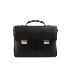Коричневый кожаный портфель Fiato