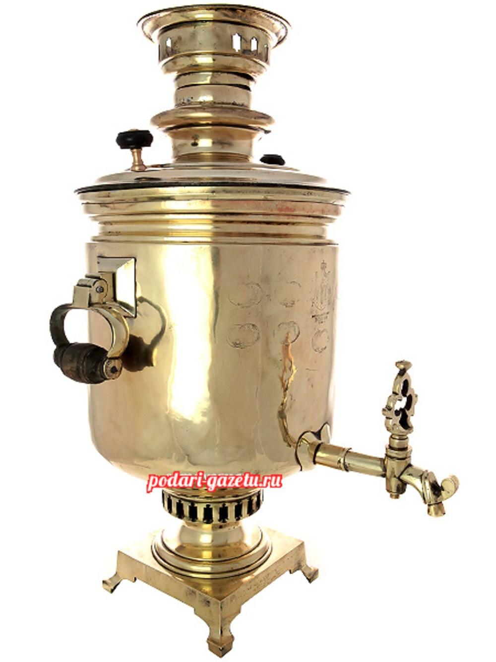 Угольный самовар (жаровой, дровяной) (12 литров) желтый цилиндр