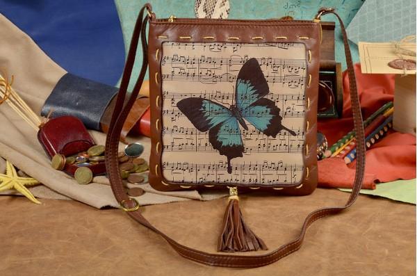 Женская сумка-планшет с принтом Бабочки и ноты