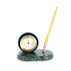 Зеленый настольный набор с ручкой и часами