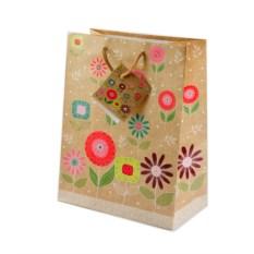 Бумажный ламинированный подарочный пакет с цветами