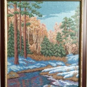Вышитая картина Ручей в лесу