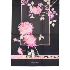 Черный шелковый палантин с розовыми цветами Leonard