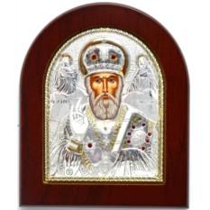 Икона Николай Угодник, серебро, золото, инкрустация