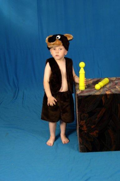 Карнавальный костюм Медведь (головной убор, жилет, шорты)