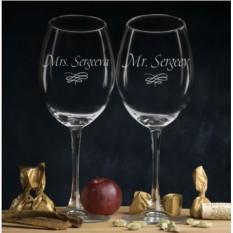 Комплект именных бокалов для вина Мистер и Миссис