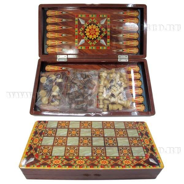 Настольная игра 3 в 1 шкатулке Шашки, Шахматы, Нарды