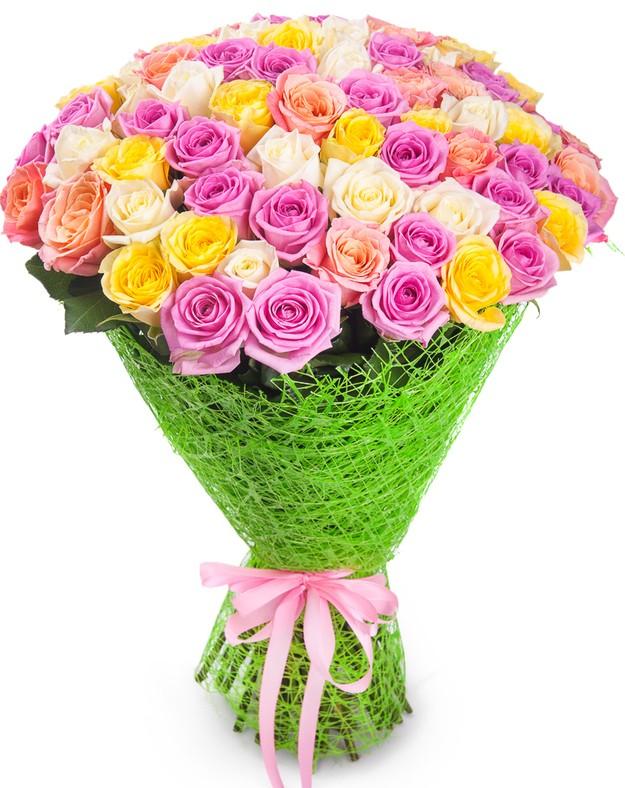 Букет цветов 71 роза (50 см.)