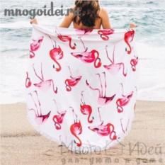 Пляжное полотенце с бахромой Озеро, где живут фламинго