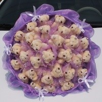 Букет из игрушек Мишки бархатные в сиреневом