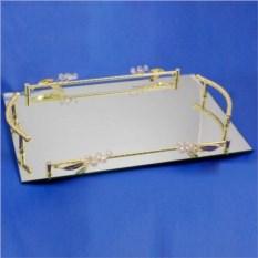 Прямоугольный зеркальный поднос с бутонами