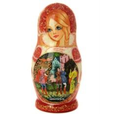 Набор матрешек Золотая Русь на розовом фоне. Сказки