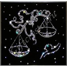 Картина с кристаллами Swarovski Весы черные (25x25 см)