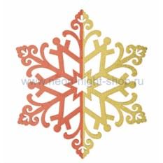 Елочная игрушка Сказочная снежинка красного цвета