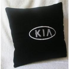 Черная подушка с белой вышивкой Kia