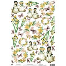 Рисовая карта для декупажа Ирисы, детки, бабочки