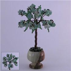 Миниатюрное дерево счастья из нефрита в вазочке из оникса