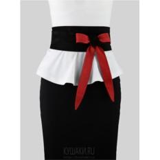 Замшевый двусторонний пояс  Red & Black, 10 см.