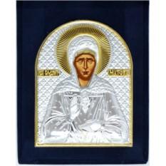 Серебряная икона Матрона Московская в бархатном футляре.