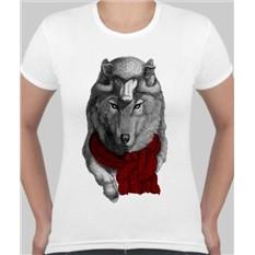 Женская футболка Волк с шарфом, овечка