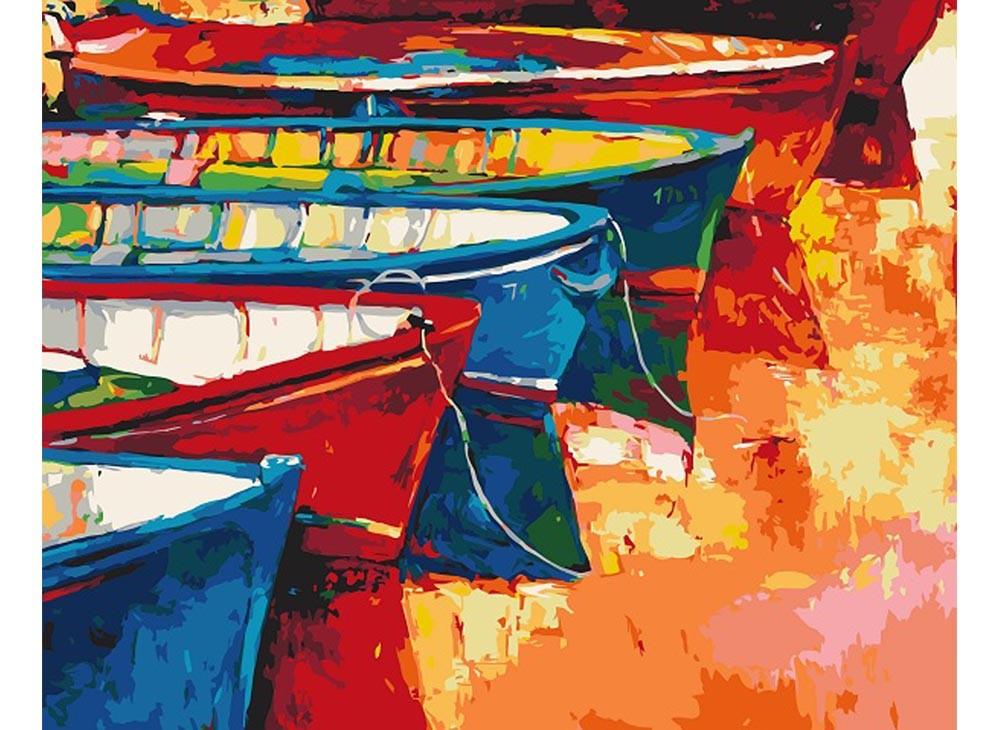 Картины по номерам «Лодки у причала»