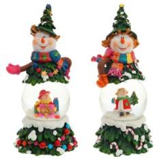 Декоративная фигурка в стеклянном шаре Веселый снеговик