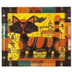 Панно из кожи «Кот на крыше»