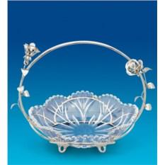 Посеребренная конфетница с кристаллами Swarovski Розы