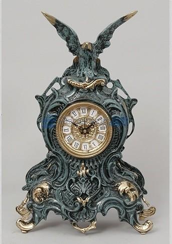 Часы из бронзы Орёл 38х25 см, цвет синий с золотом