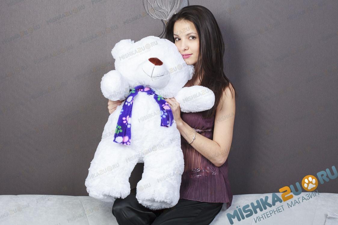 Белый плюшевый мишка Егор, 70 см
