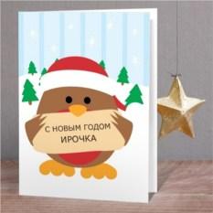 Именная открытка Снегирь