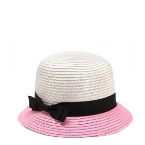 Шляпка Summery, белая с розовым